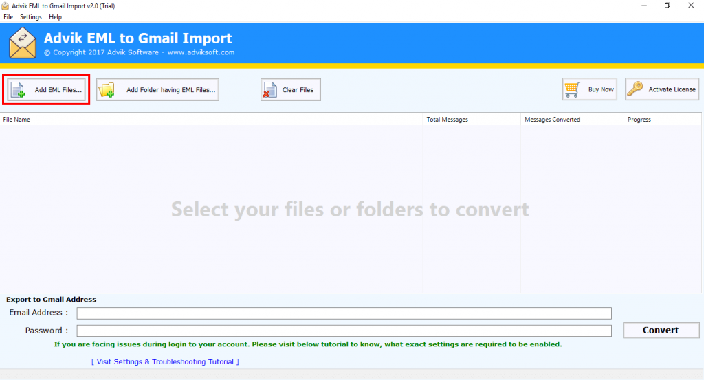 import eml to g suite