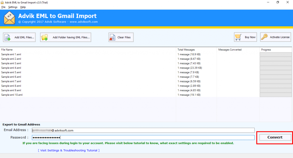 import eml files to g suite
