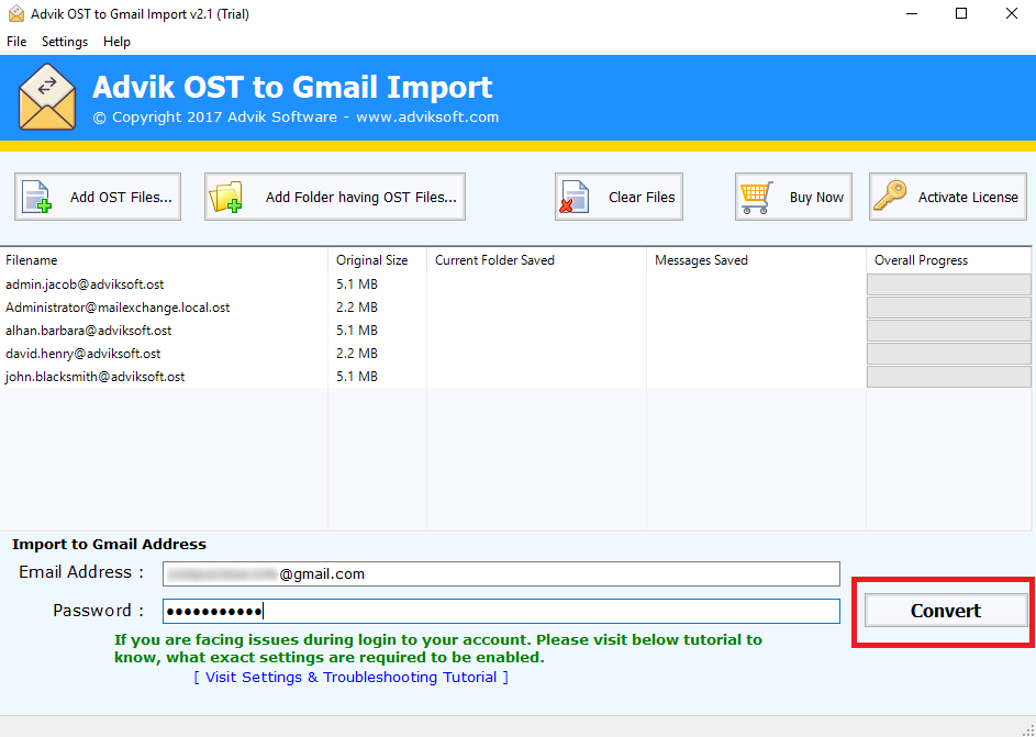 import ost file to gmail
