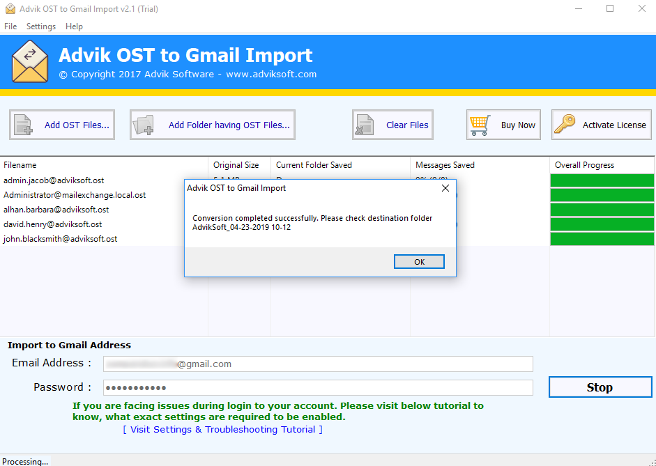 export ost to gmail